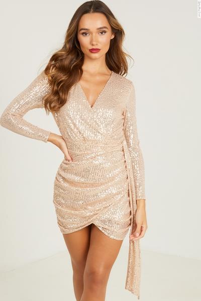 Gold Sequin Wrap Bodycon Dress